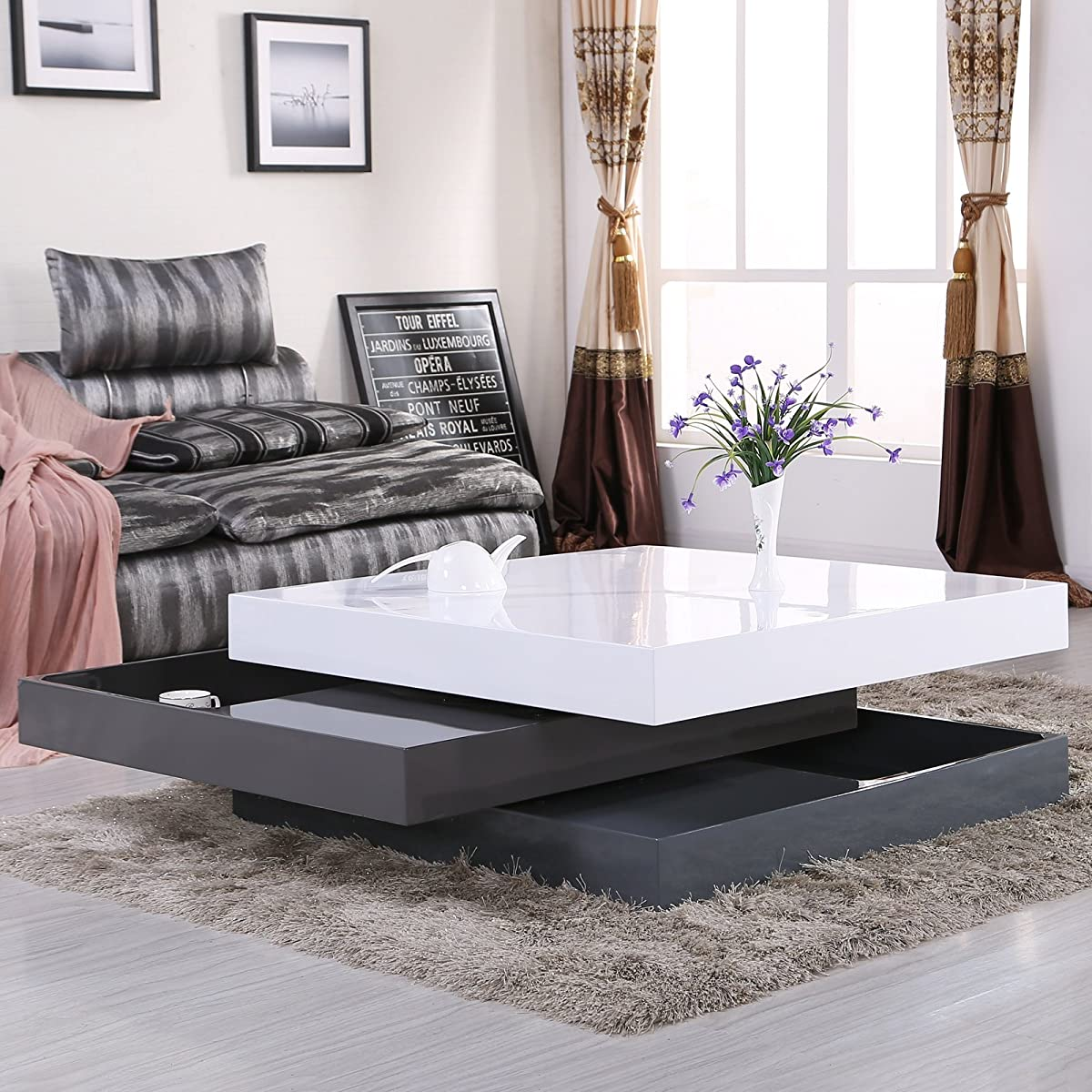 Oval Rotating Coffee Table: Uenjoy High Gloss Square Storage Rotating Coffee Table W/3