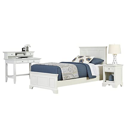 Home Styles 5530-4023 Naples Twin Bed, Night Stand and Student Desk with Hutch, White