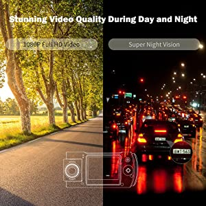 Dash Cam, Trekpow by ABOX HD 1080P Car DVR Dashboard Camera with 180°Rotation for Front and Cabin, 2 LCD, 170°Wide Len, Night Vision, G-Sensor Lock, Loop Recording, Motion Detection, Parking Mode (Color: Gun Color Bias Blue, Tamaño: Small)