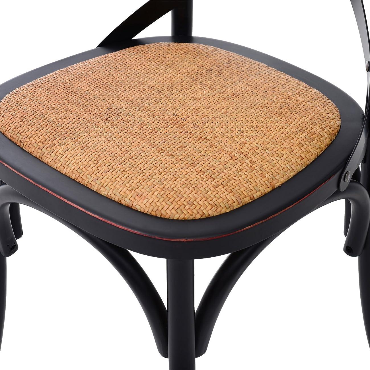 HomCom Vintage-Style X Back Elm Wood Dining Chair - Set of 2 (Black) 5