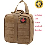 Carlebben Rip-Away EMT Pouch Molle Pouch Ifak Pouch Medical First Aid Kit Utility Pouch 1000D Nylon (with Medical Supplies Tan) (Color: With Medical Supplies Tan)