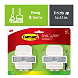 Command by 3M Mop Holder, Organize your Closet, Easy On, Easy Off, 2 grippers, 4 strips, Value Pack (17007-HW2ES) (Color: Grey/White, Tamaño: 2 Grippers)