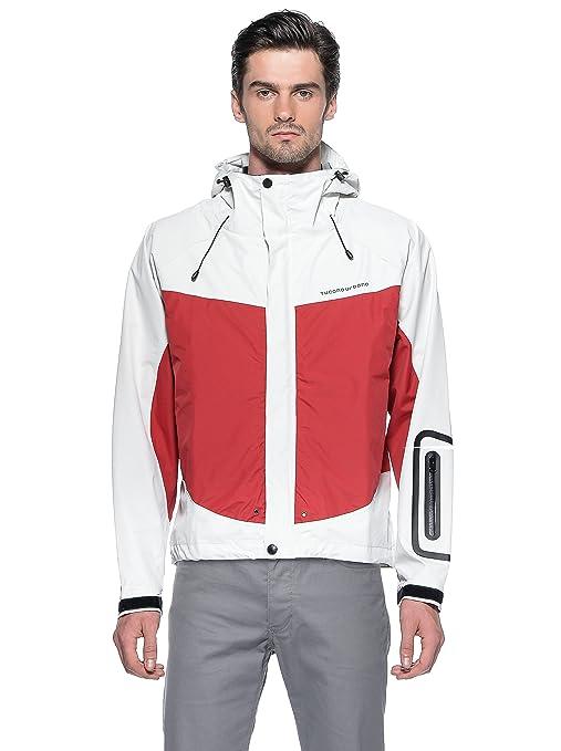 Tucano urbano 558WR4 gUSCIO rAIN jacket-fully waterproof et respirant, three-layer jacket., white-rouge-taille m