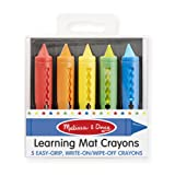 Melissa & Doug Learning Mat Crayons - 5 Colors (Color: Multicolor, Tamaño: Small)