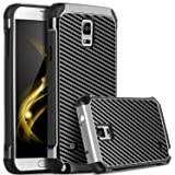 Galaxy Note 4 Case, Note 4 Case, Samsung Galaxy Note 4 Case, BENTOBEN 2 in 1 Hybrid Hard PC Soft TPU Bumper Carbon Fiber Texture Shockproof Protective Case for Samsung Galaxy Note 4, Gray/Black (Color: M771-Gray/Black)