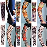 Arm Sleeve Sunscreen - 6 Pcs Set UV Protection Nylon Elastic Slip Fake Tattoo Sleeve Body Arm Stockings Kit,Perfect for Outdoor Sports,Riding,Fishing,Driving,Cycling Sunscreen (Color: 6pcs mixed color, Tamaño: one size)