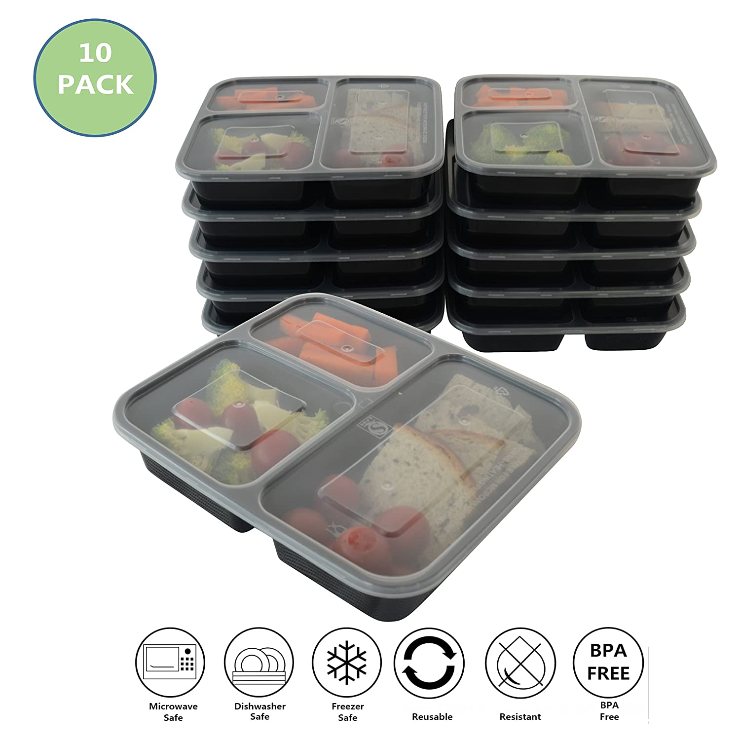 Prefer Green 3-Compartment Bento Box / Durable Plastic Lunch Boxes Sets, Meal Prep, Portion Control Containers,Food Storage (10 Pack)