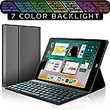 iPad Keyboard Case for New 2018 iPad, 2017 iPad, iPad Pro 9.7, iPad Air 1 and 2 – Bluetooth Backlit Detachable Quiet Keyboard – Slim Leather Folio Cover – 7 Color Backlight – Apple Tablet (9.7 Black)