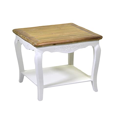 Mesa de centro o rincón de sofá cuadrada fija de estilo Provenzal con sobre de madera color natural y estructura en color blanco