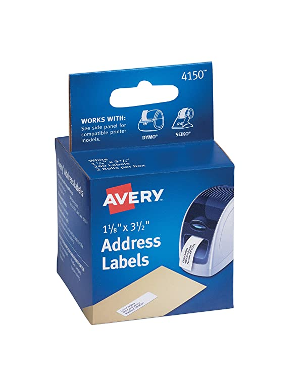 Avery Labels for Dymo Label Printers, Same Size as Dymo 30252, White, 1-1/8'' x 3-1/2'', 2 Rolls of 130 (4150) (Color: White, Tamaño: 1 1/8 x 3 1/2)