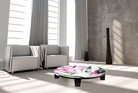 "TAF DECOR ""Iris Grace"" Art Coffee Table, 35"" X 35"" X 7.5"", Multicolored"