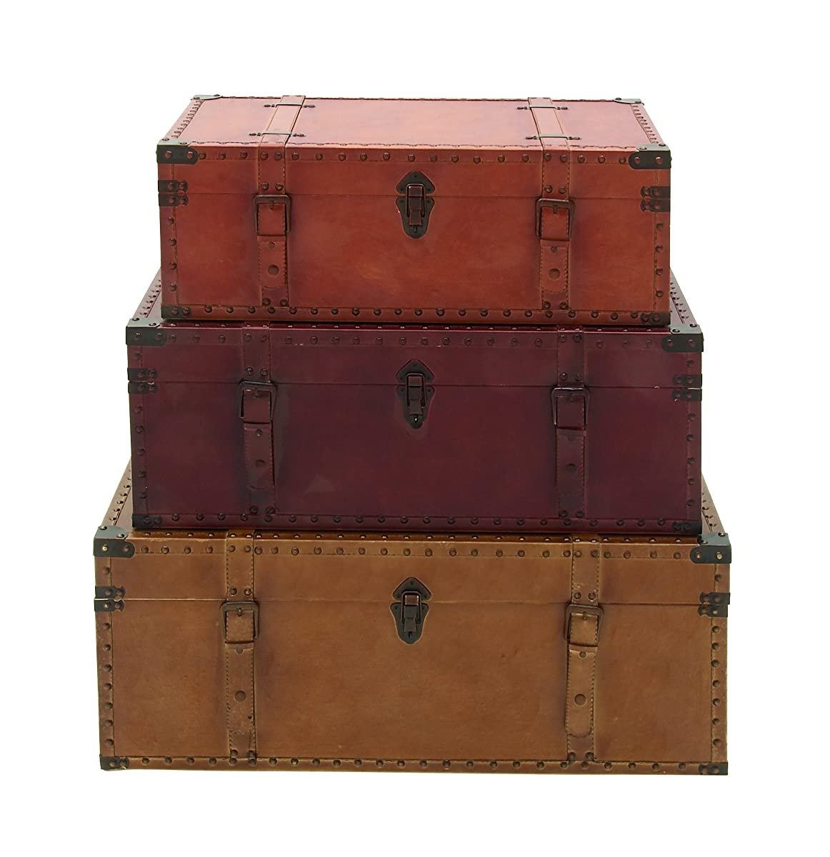 Deco 79 56670 Large Brown, Burgundy, Tan Leather & Wood Storage Trunks with Studs & Buckles | Set of 3