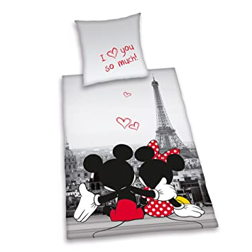 parure de lit enfant disney mickey mouse paris microfaser 100 coton 80 x 80 135 x 200 cm. Black Bedroom Furniture Sets. Home Design Ideas
