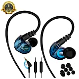 running Sports earbud Headphones Wired Over Ear In Ear Headsets Noise Isolation waterproof Earbuds Enhanced Bass Stereo Earphones with Microphone and Remote for Running Jogging Gym (BLUE) (Color: Blue)