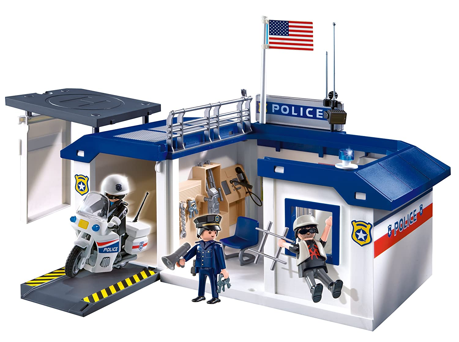 Lego Headquarters Nib Playmobil Take Along Police Station Playset 55 Piece