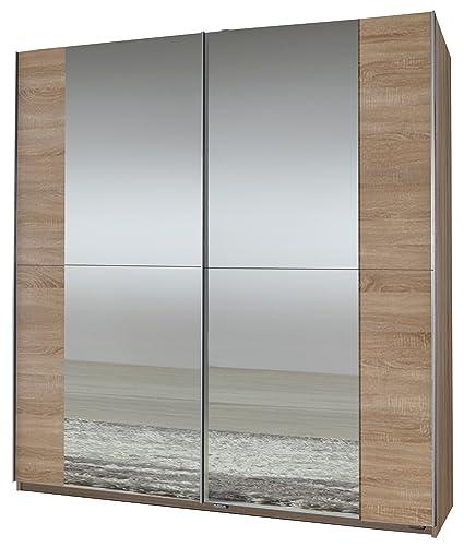 Wimex 006772 Schwebeturenschrank 198 x 180 x 64 cm, Eiche-sägerau-Nachbildung, 2 Spiegel