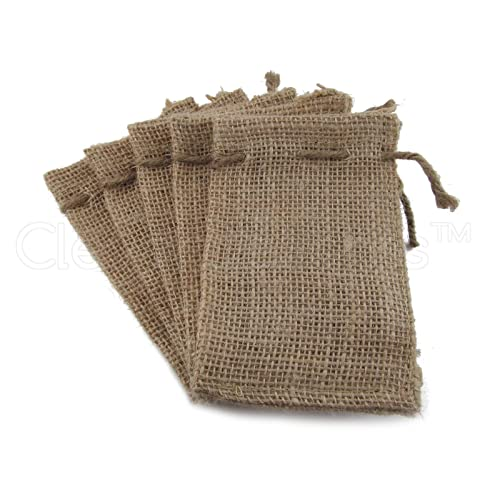 CleverDelights 3 x 5 Burlap Bags with Natural Jute Drawstring - 50 Pack - Small Burlap Pouch Sack Favor Bag for Showers Weddings Parties and Receptions - 3x5 inch