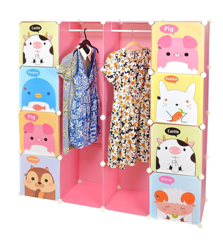 Kinder Kleiderschrank Garderoben Flur Schrank Badschrank Hoch Regal in Pink mit süßen Motiven günstig kaufen