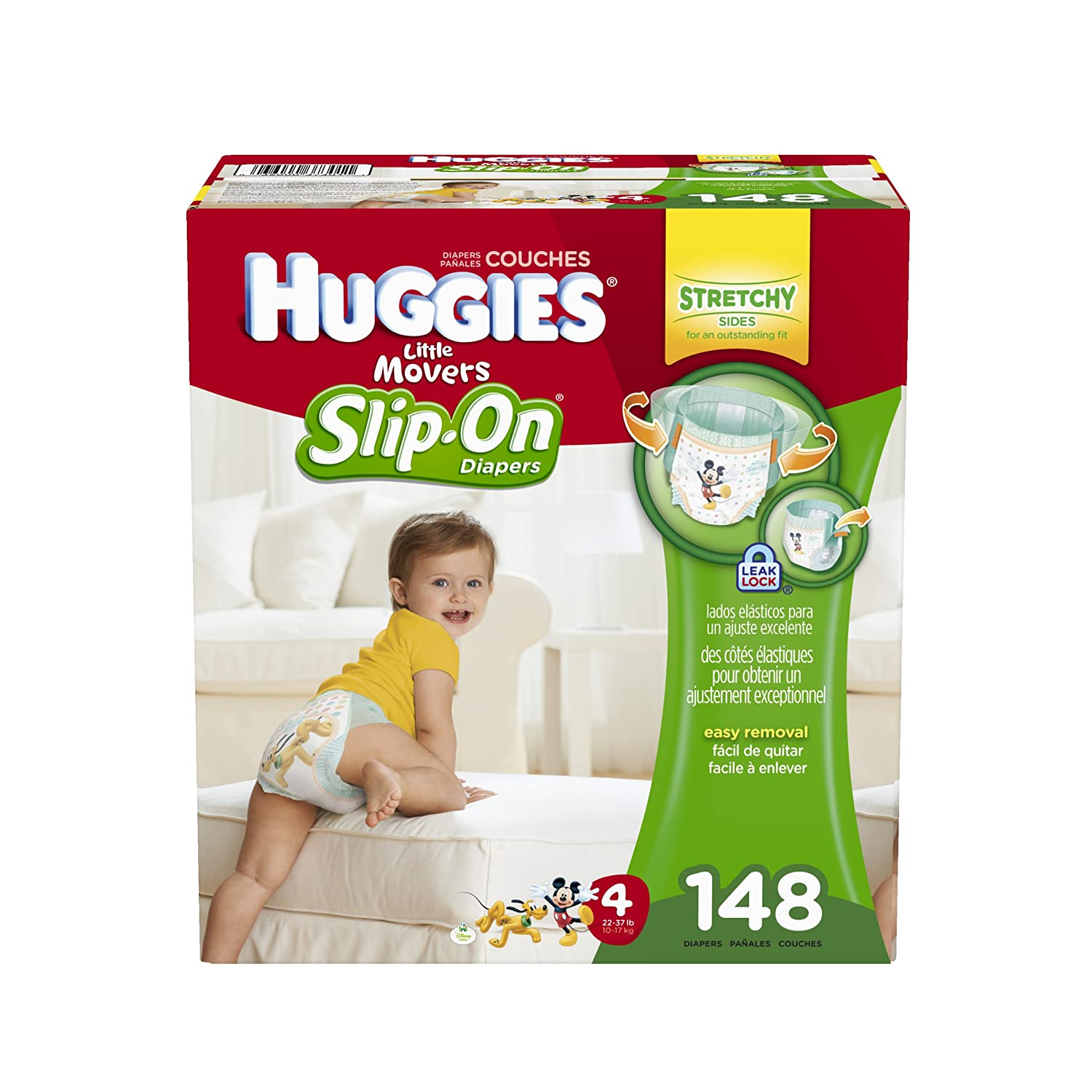 Huggies Little Movers Slip-On Diaper Pants, Size 4, 148 Count ...
