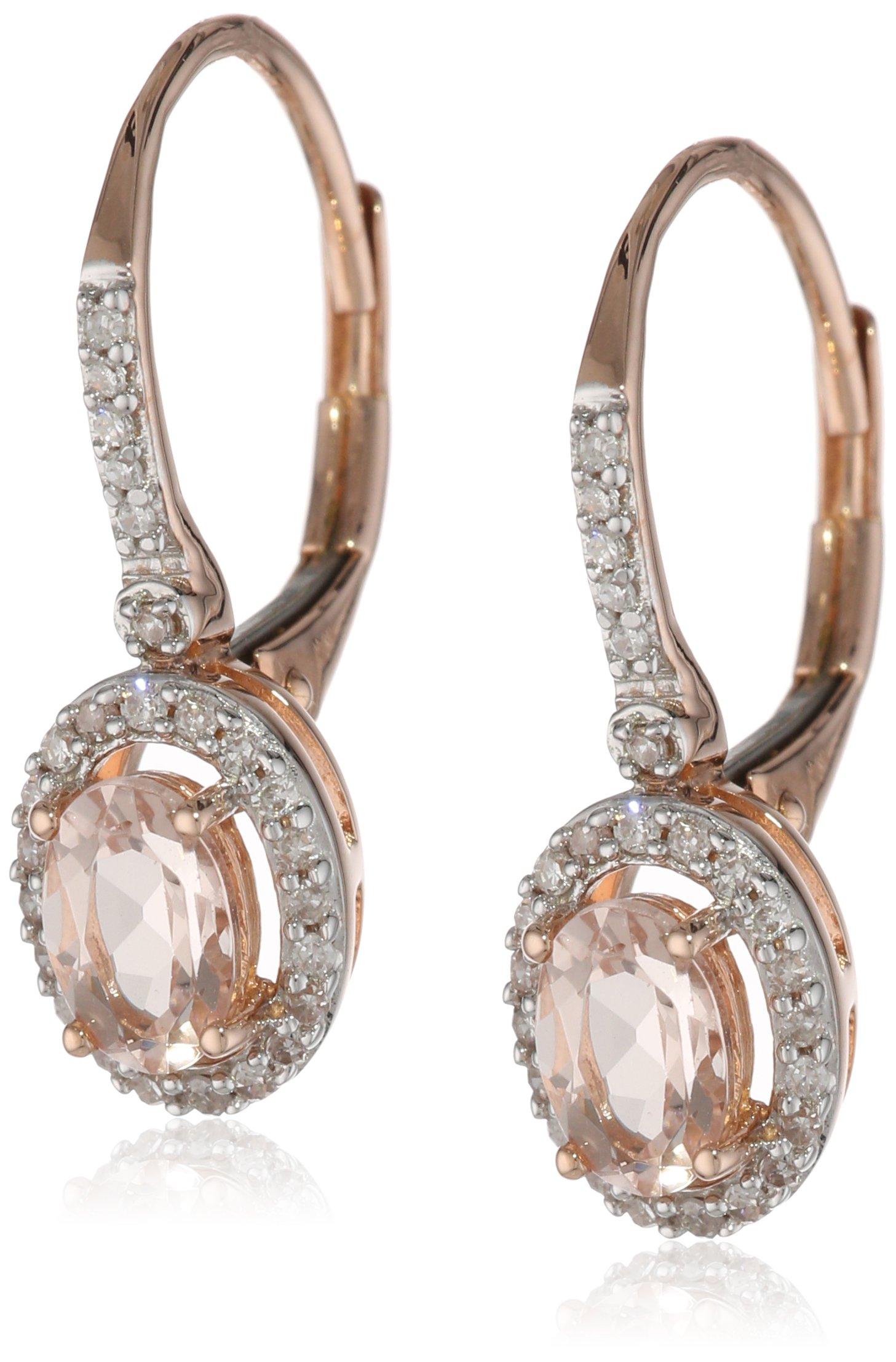 Rose Gold Morganite and Diamond Earrings image