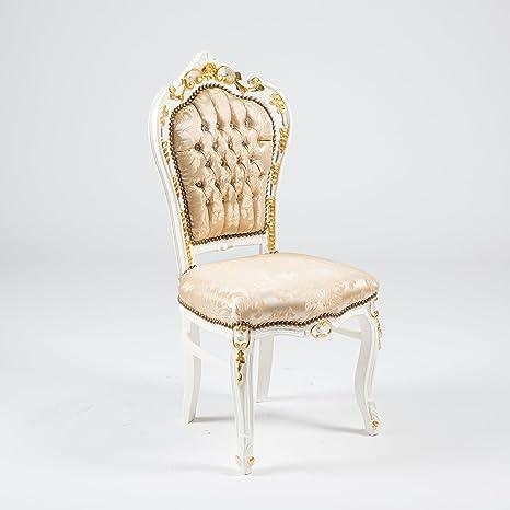 Sedia BAROCCO Bianca con Intarsi dorati Tessuto 60 x 52 x 110 cm