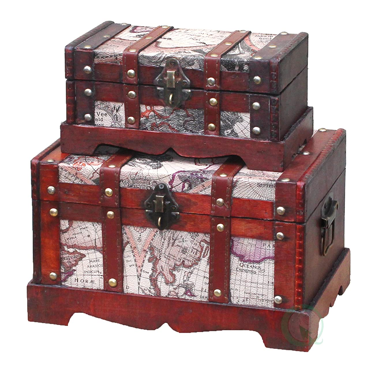 Vintiquewise(TM) Old World Map Wooden Trunk/Box, Set of 2 0