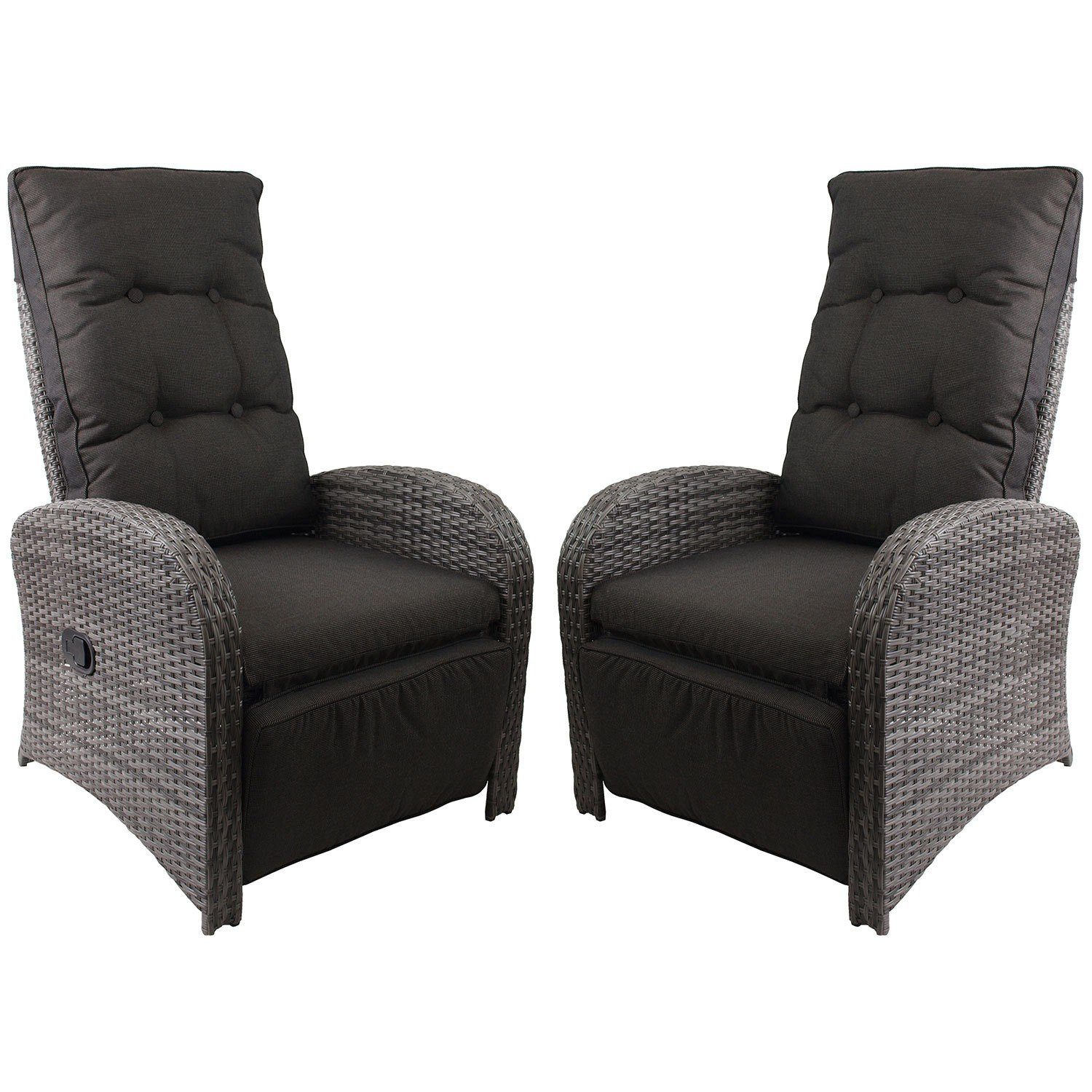 2 st ck poly rattan gartensessel rattanstuhl rattansessel relaxsessel fernsehsessel loungesessel. Black Bedroom Furniture Sets. Home Design Ideas