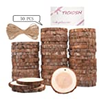 Wood Slices TICIOSH Natural Wood Slices 2.4-2.8 inches 50 Pcs Drilled Hole Unfinished Log Wooden Circles for DIY Crafts Wedding Decorations Christmas Ornaments (Tamaño: 50Pcs 2.4