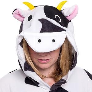Silver Lilly Adult Pajamas - Plush One Piece Cosplay Animal Costume (Cow 68384caec