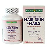Helps support lustrous hair - Nature' s Bounty Hair Skin and Nails 5000 mcg of Biotin per Serving - 250 liquid softgels