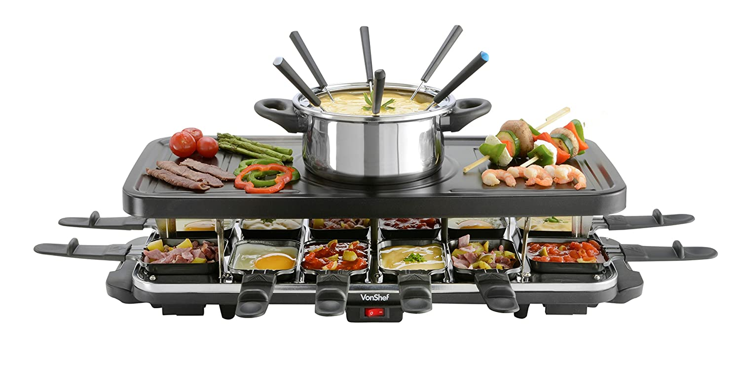 VonShef 12 Person Raclette Grill