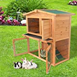 Olymstore 40'' Wooden Rabbit Hutch Chicken Coop House with Tray Ladder,Wood Pet Cage for Small Animals (Color: Natural Wood Color, Tamaño: 40