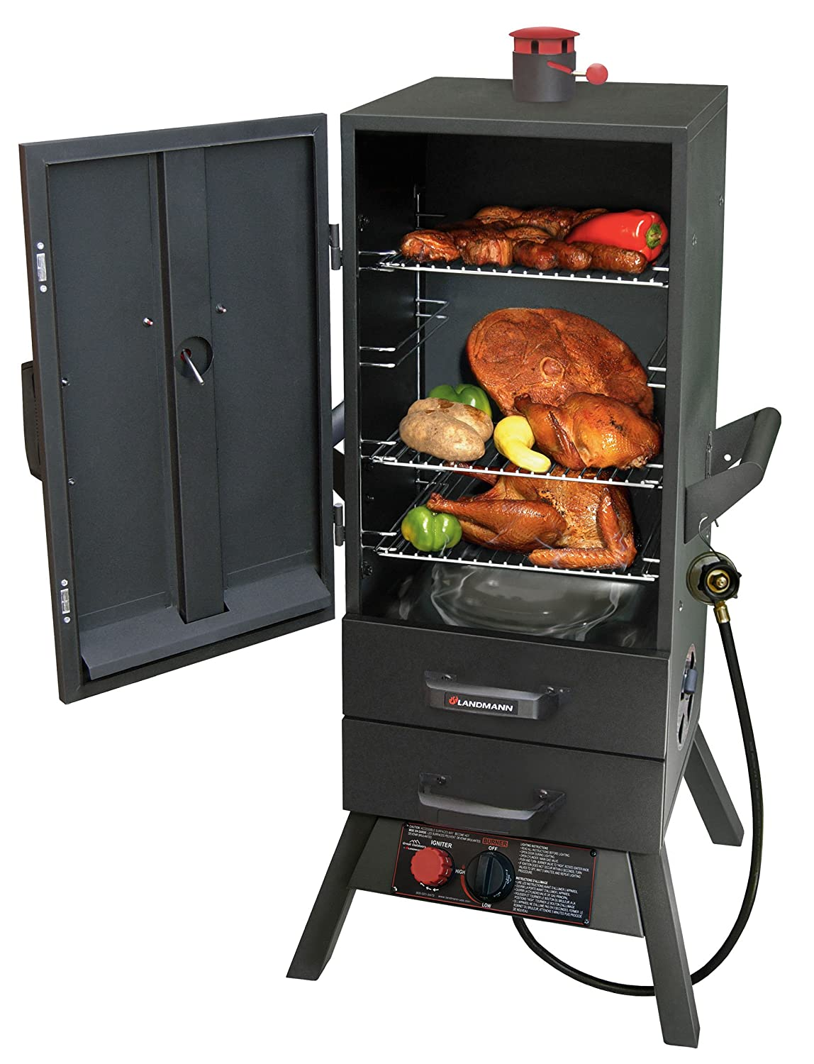 High capacity gas smoker