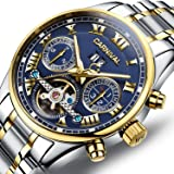 PASOY Carnival Men's Watch Automatic Mechanical Tourbillon Stainless Stell Date Blue Dial Skeleton Watch (Color: blue)
