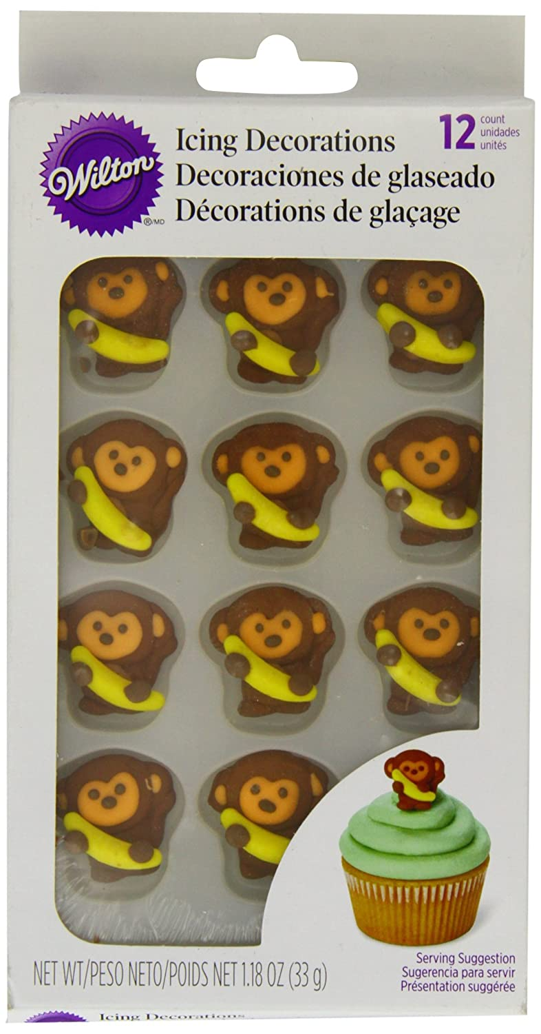 Wilton MONKEY JUNGLE Royal Icing CupCakes Party Colourful Topper Fun DecorationÂ
