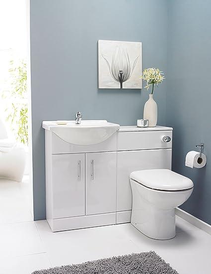 VeeBath Linx 1150 White Bathroom Set 550 Vanity with WC Unit, D Pan, Cistern
