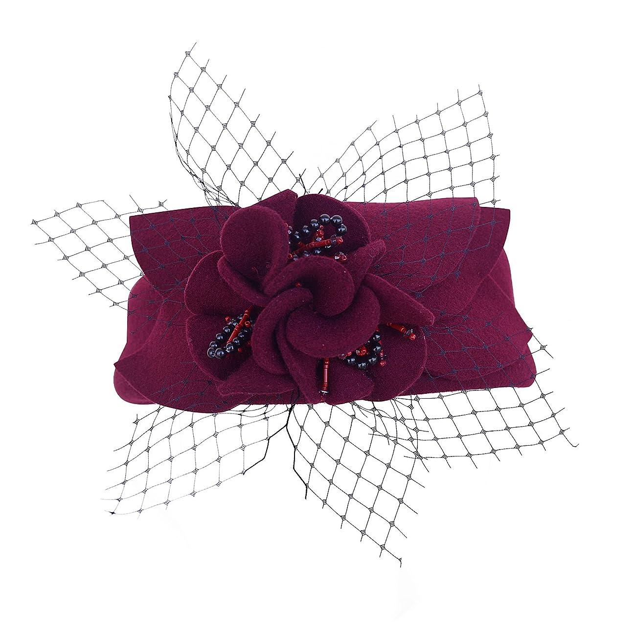 Wine Red Women Fascinator Pillbox Felt Wool Hat Formal Dress Flower Veil A131 4