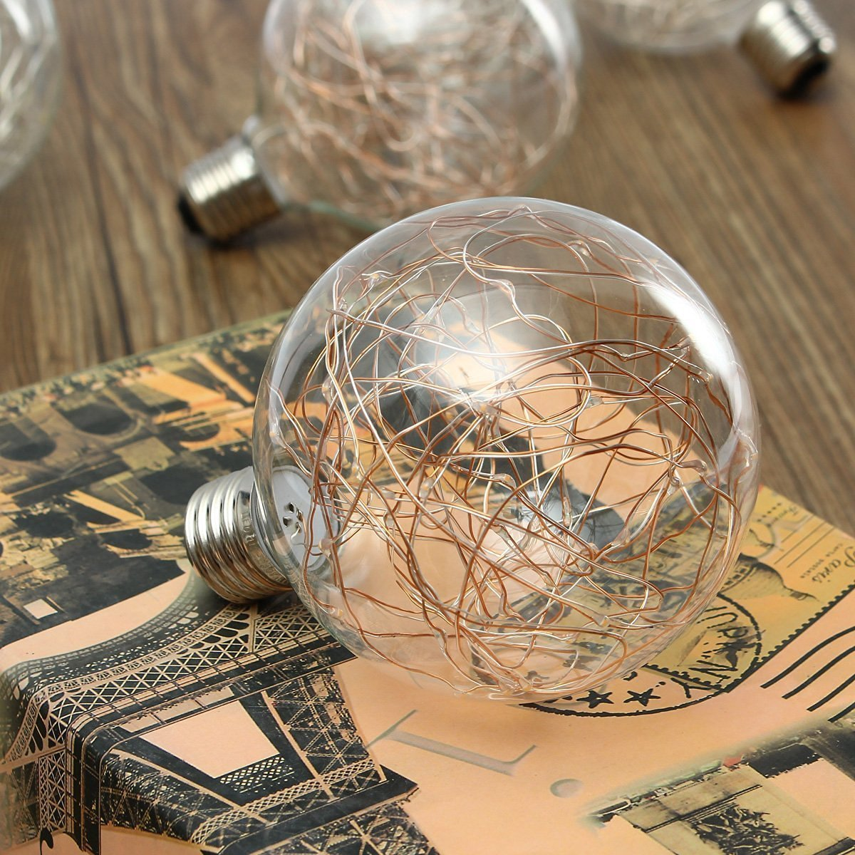 KINGSO G95 Vintage Edison Bulb,E27 Base 3W 300LM Antique Filament Globe Spiral Design LED Lights for Christmas Home Party Cafes Bars Decoration Warm White 4