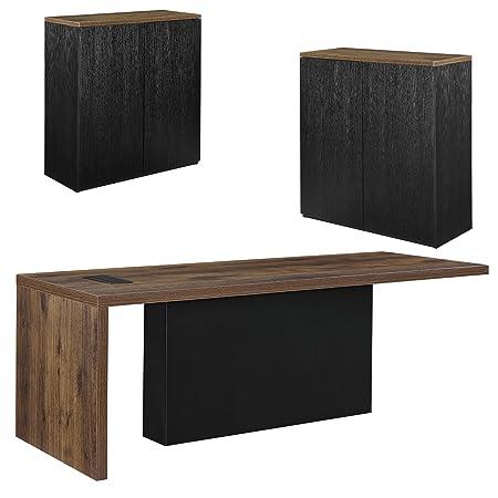 [neu.haus] Chef-Schreibtisch mit 2 Aktenschränken Regal schwarz Sideboard Eiche Buromöbel-Kombination