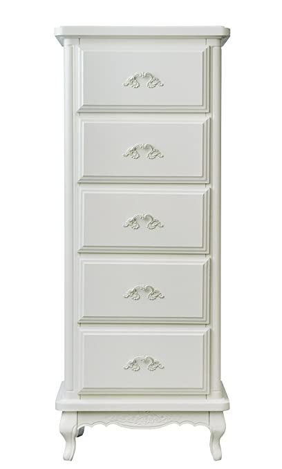 Loma Living Provencal 5 Drawer Chest, Wood, White
