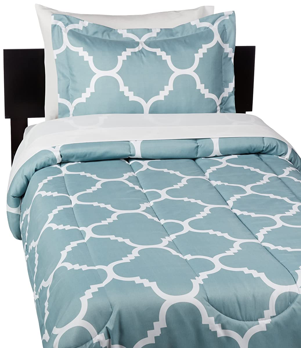 AmazonBasics 5-Piece Bed-In-A-Bag - Twin/Twin Extra-Long, Dusty Blue Trellis