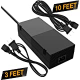 Quiet Xbox One Power Supply [Free 10ft Extension Cord] AC Adapter Cord Best for Charging - Brick Style - Great Charger Accessory Kit with Cable (Black) (Color: Black)