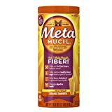 Metamucil Daily Fiber Powder Supplement, 100% Natural Psyllium Husk, Orange Smooth Sugar Fiber Powder, 48 Dose, 20.3 Ounce