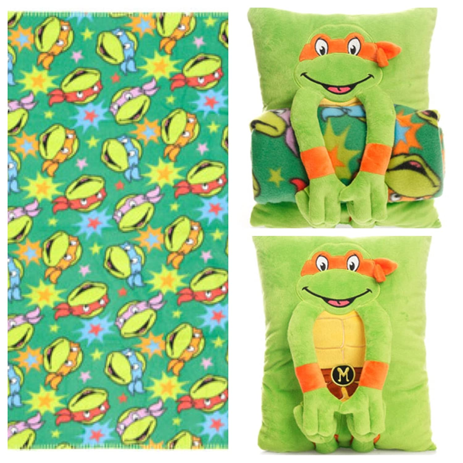 Nickelodeon Teenage Mutant Ninja Turtles Cuddle Time Snuggle Buddy Pillow / Blanket Set teenage mutant ninja turtles action figure 6 pcs set decoration collection gift