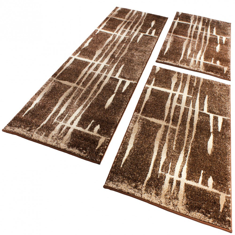 Bettumrandung Läufer Modern Meliert Design Braun Beige Creme Läuferset 3 Teilig, Grösse2mal 70x140 1mal 70x250    Überprüfung und weitere Informationen