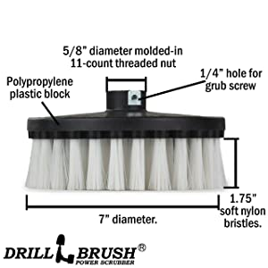 Rug - Carpet Cleaner - Stain Remover - Scrub Brush - 7in - Soft White - 7/9 inch - Variable Speed Polisher - 5/8 x 11 Threaded Hub - Wood - Furniture - Upholstery - Leather Cleaner - Floor Scrubber (Color: Automotive Soft-white, Tamaño: 7in)