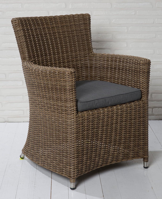 4x Hochwertiger Polyrattan Gartenstuhl Gartensessel Balkonsessel Korbsessel XL kaufen