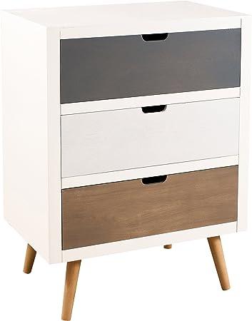 Skandinavische Kommode, Kiefer, weiß, 3 Schubladen, farblich sortiert