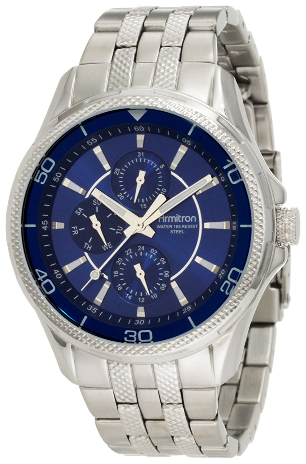 Armitron Men&#8217;s 204701BLSV Silver-Tone Stainless-Steel Blue Multi-Function Dial Dress Bracelet Watch