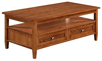 "Simpli Home Warm Shaker Coffee Table, 48""W x 18""H, Honey Brown"